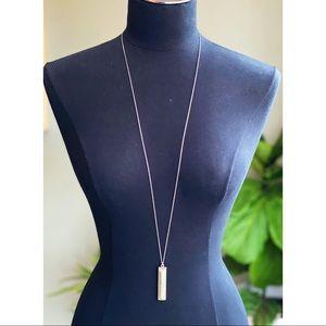 LOFT Long Silver Necklace w/Gray Rectangle Pendant